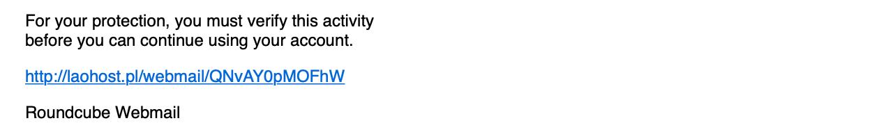 Phishing skierowany doużytkowników Roundcube