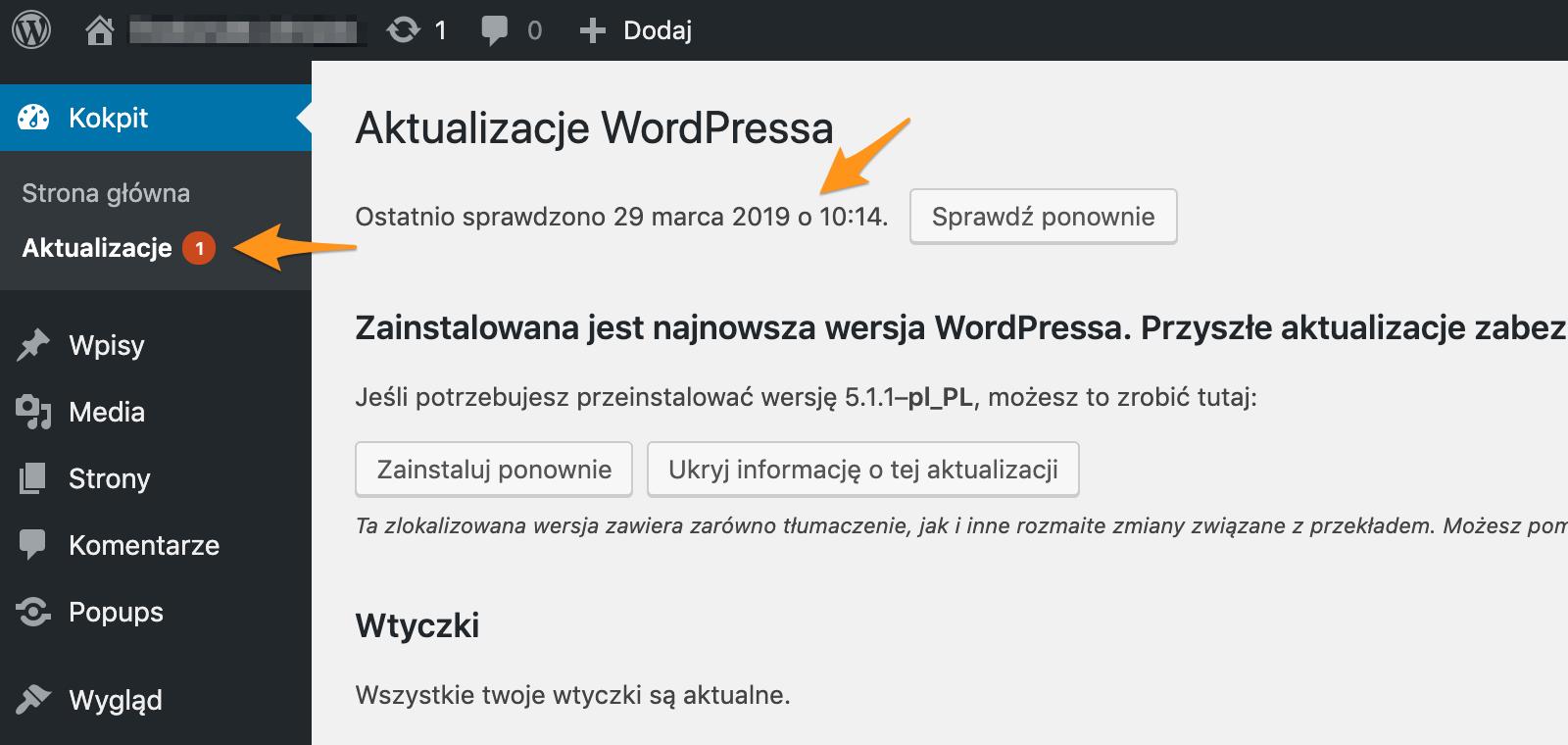 System aktualizacji Wordpress